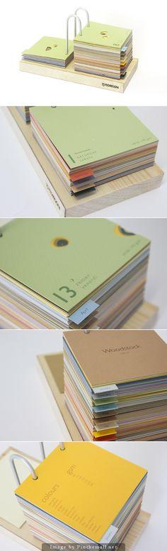 Promotional desk calendar for Fedrigoni's Woodstock paper range.
