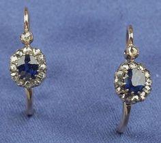 Antique Sapphire and Diamond Earpendants, Austria-Hungary