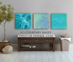 sea and ocean abstract Painting, 3 square CUSTOM abstract Wall Art,  Large abstract artwork, Turquoise, green, aqua, white,.