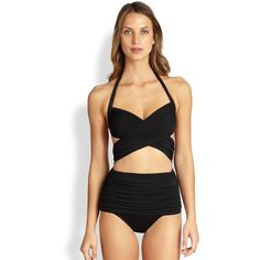 Allover ruching adds elegance to a chic one-piece style with the look of a bikini. Continuous halter strapRuched crisscross frontAttached high-waisted bottomBa…
