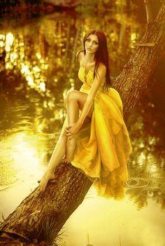 Elegant Luxurious Yellow Chiffon Sweep Brush Train A Line Prom Dress