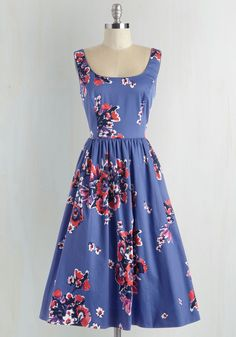Wonder for the Record Books Dress - Blue, Floral, Print, Pockets, Prom, Daytime Party, Graduation, Fit & Flare, Sleeveless, Woven, Scoop, Long, Cotton, Pink, Wedding, Bridesmaid, Special Occasion, Vintage Inspired, 50s