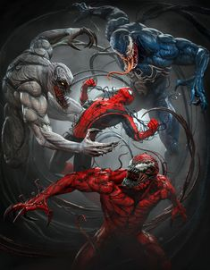 Venom, Carnage and Anti-Venom vs. Spiderman Venom, Marvel Venom, Spiderman Art, Venom Comics, Marvel Comics Art, Marvel Heroes, Superhero Poster, Superhero Villains, Amazing Spiderman