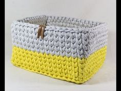 Cesto Quadrado em Fio de Malha - YouTube Diy Crochet, Crochet Hats, Crochet Decoration, Crochet Videos, Crochet Projects, Crochet Patterns, Basket, Knitting, Youtube