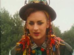 Culture Club - Karma Chameleon - Old-timey theft was an...interesting choice of video for this song? Also, pom-poms and heavy makeup used to be edgy. I'm glad I didn't see this when I was little, I probably would have been scared of Boy George, he looks so much like a clown. Is he supposed to be a hobo? He's lurkin', whatever his deal is. Just like a clown hobo.