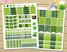 March Printable Planner Stickers St Patricks theme - planner and organizer for Erin condren. Perfects for Gyro cut tool