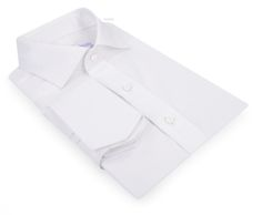 Luxire dress shirt constructed in White Pinpoint Oxford: http://custom.luxire.com/products/white-pinpoint-oxford  Consists of English collar and angled French cuffs.