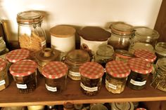Label old Bonne Maman jars to use as storage containers
