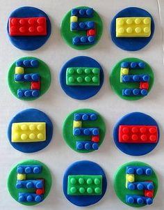 12 Fondant Cupcake Toppers - Lego Inspired Building Blocks. $17.95, via Etsy.