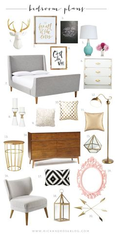 This is our master bedroom plans, as you can see I have gold fever, and want to mix it with black, gray, mint and a little touch of light pink.
