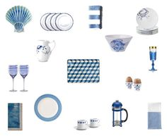 Blue and White Dining Table Ideas by einder on Polyvore featuring interior, interiors, interior design, home, home decor, interior decorating, Juliska, Kate Spade, Abbiamo Tutto and Kim Seybert