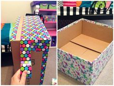 extraspace storage moving kit boxes DIY under bed storage bins WITH colorful duct tape Cardboard Crafts, Tape Crafts, Diy And Crafts, Cardboard Boxes, Cardboard Storage, Under Bed Storage Bins, Fabric Storage Boxes, Extra Storage, Moving Kit