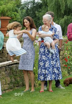 Queen Margrethe,Prince Vincent, Crownprincess Mary and Princess Isabella pose for the media at the summer residence of Queen Margrethe in Grasten.