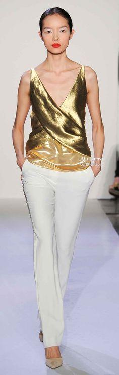 Altuzarra Spring 2014 ●  Liquid Gold Wrap Top  White Pants - how I admire white pants people