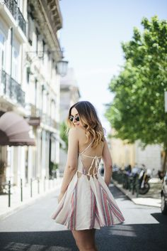 Striped backless dress