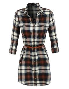 Lightweight flannel plaid tunic / dress with faux leather belt. Perfect paired…