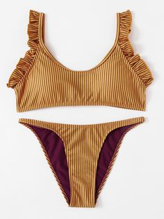 Shop Frill Detail Striped Bikini Set online. SheIn offers Frill Detail Striped Bikini Set & more to fit your fashionable needs.