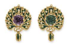 An Art Nouveau Alexandrite, Diamond and Enamel Brooch, by Marcus & Co. Photo Christie's Image Ltd 2014 Designed as a green enamel. Art Nouveau Jewelry, Jewelry Art, Antique Jewelry, Vintage Jewelry, Fine Jewelry, Jewelry Design, Art Deco, Art Nouveau Design, Fantasy Jewelry