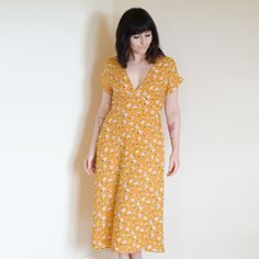 Yellow floral deep v neck midi dress
