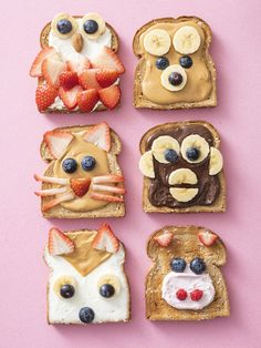 """Making lunch fun and exciting is one of my biggest passions. This Animal Face Toast is way easier to create than it looks and my kids love them! They love the surprise of whether they'll have Monkey or Owl orKitty Cat Toast in their lunch boxes! Plus, most of these are three ingredients or less! This first Animal Face Toast is a real """"hoot!"""". Get it? This Owl Toast is made with whipped cream cheese, banana and strawberry slices, blueberries and an almond. I love the strawberry feathers on t Toddler Snacks, Fun Snacks For Kids, Kids Meals, Easy Family Meals, Food Art For Kids, Cooking With Kids, Cute Food, Good Food, Yummy Food"""