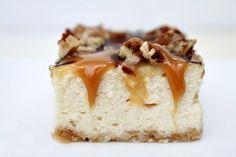 Caramel - Pecan Cheesecake Bars Recipe Girl