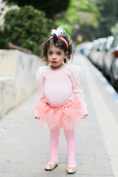This weekend was Purim is Israel (what can be most described as the Jewish equivalent of Halloween). It is one of my favorite holidays. As I child I remember waking up excited to wear the [. Tutu Costumes Kids, Movie Halloween Costumes, Toy Story Costumes, Toddler Costumes, Cool Costumes, Flamingo Costume, Flamingo Party, Toddler Girl Halloween, Halloween Kids