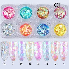- 8 Colors Mixed Mermaid Nail Art Sequins Glitter Uv Gel Paillette Decoration Tips Mermaid Glitter, Mermaid Nails, Powder Manicure, Nail Manicure, Glitter Crafts, Glitter Nails, Dark Pink Nails, Coffin Nails Ombre, Romantic Nails