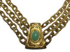Vtg Givenchy Etruscan Revival Statement Necklace Light Green Cabochon Goldtone  #Givenchy #Statement