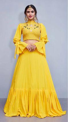Get Beautiful Yellow Color Crepe Silk Designer Lehenga Chol latest designer party wear lehenga, wedding wear lehenga choli for women at VJV Fashions. Indian Gowns Dresses, Indian Fashion Dresses, Indian Designer Outfits, Designer Dresses, Party Wear Lehenga, Party Wear Dresses, Red Lehenga, Yellow Lehenga, Bridal Lehenga