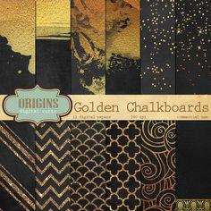 Chalkboard Golden Overlays  12 Pack Premium by OriginsDigitalCurio