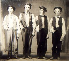Left to Right: Billy the Kid, Doc Holliday, Jesse James & Charlie Bowdre. Photo believed to have been taken in New Mexico in 1879.