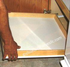 Pan Lid-Cooking Sheet Sliding Shelf-Slide Out Shelves LLC® Kitchen Pull Out Drawers, Kitchen Cabinet Shelves, White Kitchen Cabinets, Pantry Cabinets, Kitchen Pantry, Slide Out Shelves, Sliding Shelves, Cooking Sheet, Muffin Pans