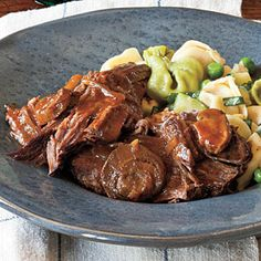 Italian Pot Roast in the Slow Cooker - Sooo good! I served it with cheese tortellini & everyone loved it! I used some of the leftover meat to make shredded beef tacos-they were the best shredded beef tacos I've ever made! Keeper for sure.