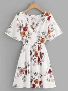 Young Boho A Line Floral Fit and Flare V Neck Short Sleeve Butterfly Sleeve High Waist Multicolor Short Length Surplice Neck Floral Dress Moldova, Mode Outfits, Stylish Outfits, Latest Dress, White Style, Ladies Dress Design, Dress P, Mongolia, Brunei