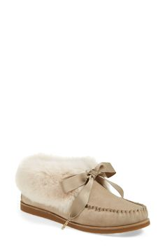 5fb91cd0473c Tory Burch  Aberdeen  Genuine Rabbit Fur Trim Slipper Bootie (Women)