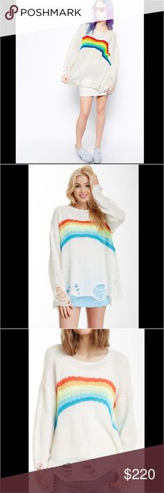 Wildfox NWT Rainbow Lennon Summer Sweater! 🌈✨ So soft and comfy cute, all knit white label Wildfox Lennon sweater in comfortably light weight material! Perfect for summer/fall and year round fun. Casual or dressy. Hanging out w the gals, lounging on the beach in style, or curled up and comfy! Sold out style, this luxuriously blanket soft, limited release sweater flew off the shelves when originally released! One last one here on sale! Fits S/m Wildfox Sweaters Crew & Scoop Necks