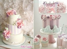 cakes with stripes by Bella Cupcakes NZ left and Cotton and Crumbs right