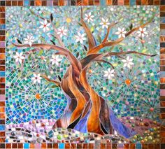 Items similar to Blue Tree of Life Print Limited Edition Giclee Print - Glass Mosaic - Tree Print - Tree Wall Decal - Tree Painting - Stained Glass Tree on Etsy Tile Art, Mosaic Art, Mosaic Glass, Stained Glass, Glass Art, Glass Tiles, Blue Mosaic, Fused Glass, Mosaic Crafts