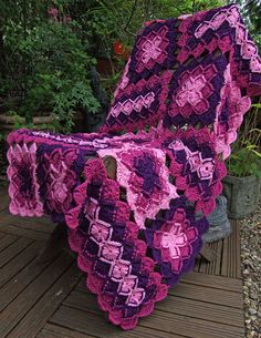 Bavarian Crochet Lap Blanket - this is beautiful and I love the colors. It was a Bavarian crochet afghan, though, that caused my first ever tendonitis, so I'm not sure I'd attempt another one.