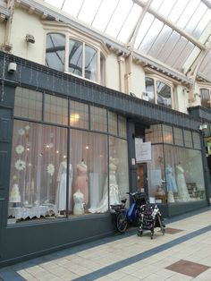 The Bridal Emporium, Leeds, England shop windows April 2015. Bridal shop specialising in made to measure, accessories and vintage. Window dressing, visual merchandise and anthropology.