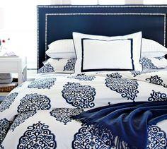 Ideas for bedroom white navy duvet covers Blue Bedding, White Bedroom, Dream Bedroom, Home Decor Bedroom, Master Bedroom, Navy Comforter, Bedroom Colors, Bedroom Ideas, Organic Duvet Covers