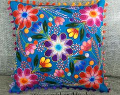 Throw Pillow embroidered flowers 16 x 16 Sheep & alpaca by khuskuy