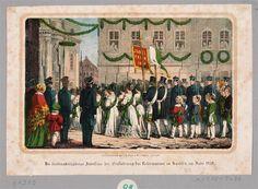 Prozession zum 300-jährigen Jubiläum der Einführung der Reformation in Sachsen 1839 vor einer Kirche in Dresden (?)