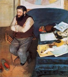 """Edgar Degas (French, Post-Impressionism, 1834–1917): Diego Martelli, 1879. Oil on canvas, 110.4 x 99.8 cm. National Galleries of Scotland, Edinburgh, UK.    """"He's an obscure figure to non-Italians, but Diego Martelli (1838-1896) was an important art critic who championed the pre-Impressionist Macchiaioli group [Italian Impressionists]."""""""
