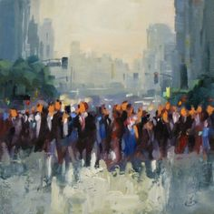 PEOPLE, CITY, CROWDS, TOM BROWN CONTEMPORARY URBAN LANDSCAPE, painting by artist Tom Brown
