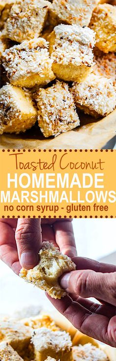 Fluffy toasted coconut homemade marshmallows. Delicious homemade marshmallows that are gluten-free, grain free, and made without any corn syrup. These homemade marshmallows are simple to make and made with real ingredients. So much healthier for you compared to the store-bought kind, and better tasting too!
