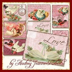Vintage Valentine's ATC shaped cards AJR-280 swan antique pink yellow red roses hearts hanging   doves birds butterfly butterflies valentine. $4.95, via Etsy.
