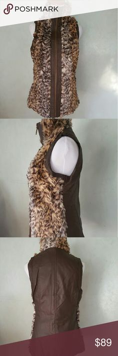 SALE *2x HOST PICK* Faux fur leather vest Brown faux fur vest with faux leather Chupchick  Jackets & Coats Vests