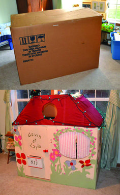 Here is a cardboard house my mom envisioned, created and painted for my (spoiled) kids!