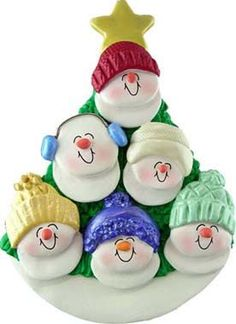 Personalized Ornament Personalized Family Christmas Ornament Snowman Ornament Family of 6 Snowmen in Christmas Tree Ornament